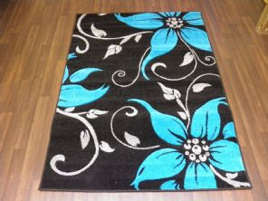 BARGAIN RANGE WOVEN RUG HAND CARVED APROX 6X4FT 120X170CM BLACK/TEAL GREAT RUGS